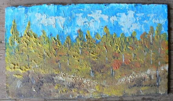 small landscape painting on board Santa Fe artist Vint Blackburn from Diz Has Neat Stuff
