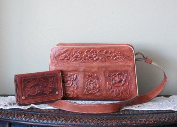 SALE. Vintage Leather Hand Tooled Purse with Leather Hand Tooled Wallet