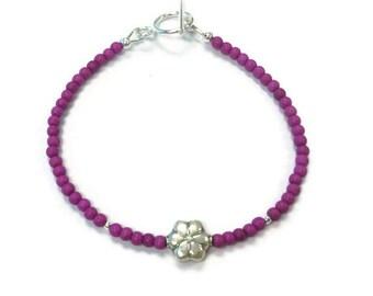 Pink Bracelet - Turquoise Gemstone Jewellery - Sterling Silver Jewelry - Fuschia - Magenta - Flower - Layer - Stack - Skinny B-287 288