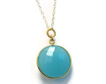 Teal Blue Necklace - Chalcedony Gemstone Jewellery - Gold Chain Jewelry - Pendant - Modern - Drop - Chain - Fashion N-322 323 324