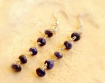 Navy Blue Sapphire Earrings - Sterling Silver Jewelry - Gemstone Jewellery - Wire Wrapped Fashion Vogue Elegant Navy