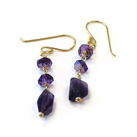 Amethyst Earrings - Purple Jewelry - Gold Filled Jewellery - February Birthstone - Gold - Gemstone