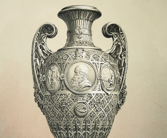 Antique print, Silver vase, Tiffany, 1876 Chromolithograph
