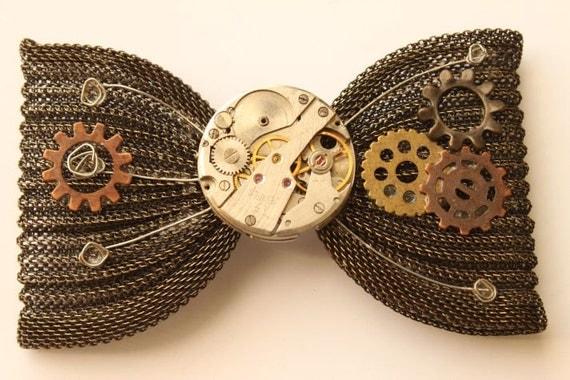 Steampunk Watch Mechanism Brass Chainmaille Hair Bow/Barrette
