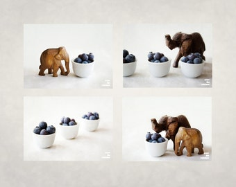 Elephants and Blueberries, Nursery Wall art, Elephant nursery art, Blueberry print, Art for kids room, Baby shower gift, Set of 4 prints