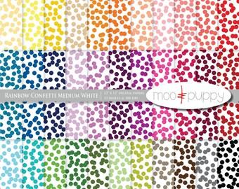 Digital Scrapbook Paper Pack  --  Rainbow Confetti Medium White -- INSTANT DOWNLOAD