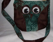 Brown and Teal Owl Purse