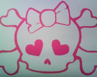 Skull with Bow wall decal removable sticker