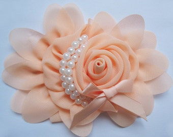 2pcs Chiffon Rose Flower Pearls Bow Headband-Peach  CH001-1