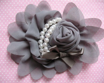 2pcs Chiffon Rose Flower Pearls Bow Headband-Grey CH001-1