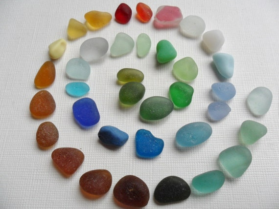Rainbow selection of English sea glass - 37 pieces including rare colours milk glass and multis