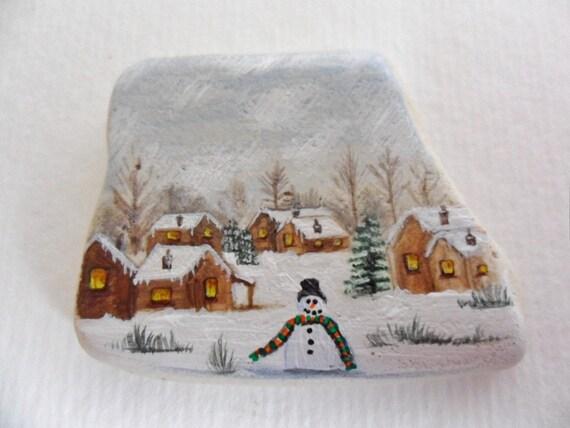 Sleepy winter village - Original miniature painting on a piece of English sea pottery