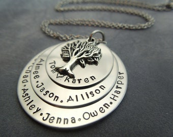 Family tree hand stamped stainless steel necklace