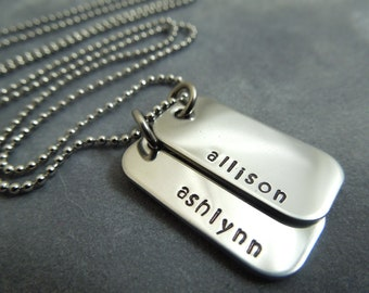 Personalized Mother's necklace, handstamped stainless steel mini dog tags