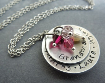 personalized grandma necklace, hand stamped stainless steel