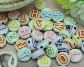 50pcs  Beautiful Alphabet Cabochon Colourful Beads Charms,10mm