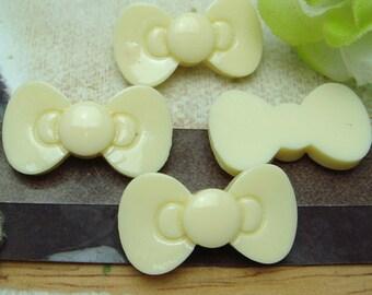 10Pcs Beautiful Bowknot  Cabochon - Cream.( B1328-0)