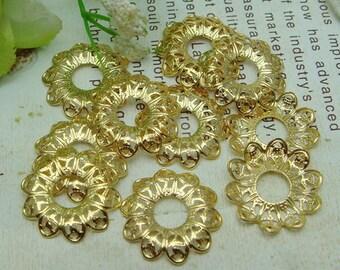 8pcs Golden Plated  Flower Filigree, 17mm