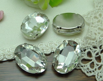 6 pcs Vintage Silver Plated Base Crystal Charms 18x25mm,
