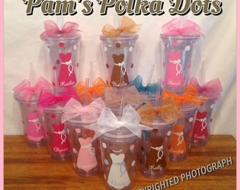 12 Personalized Clear Acrylic BRIDE & BRIDESMAIDS TUMBLERS Dress Name Polka Dots Bridal Bachelorette Wedding Party
