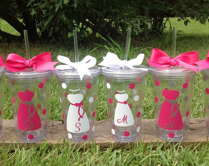2 Personalized 16 oz. Clear BRIDE & BRIDESMAIDS TUMBLERS with Dress Initial Polka Dots Bridal Bachelorette Wedding Party