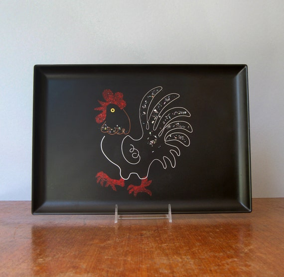 Mid Century Bar Ware Couroc Inlaid Tray - Rooster RESERVED