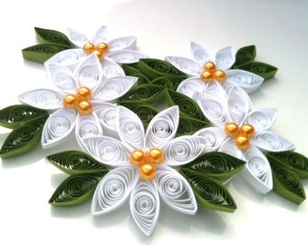 White Wedding Flower Ornament Paper Quilled - Pearl Centers
