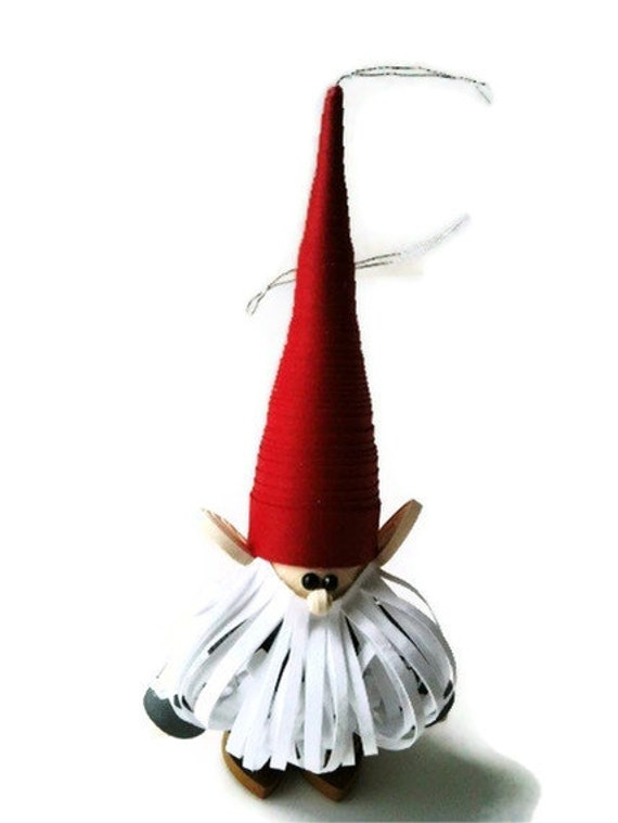 Scandinavian Christmas Ornament Paper Quilled Nisse with White Hair and Red Cap