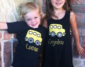 Custom Back to School Applique School Bus Shirt and Dress Matching Brother Sister Outfit Set