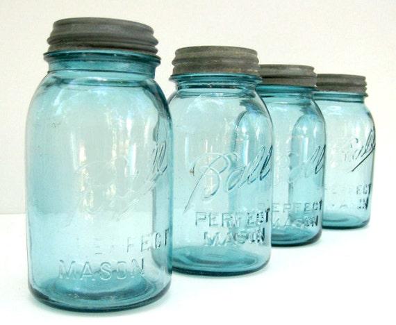 Blue Ball Mason Jars with Zinc and Milk Glass Lids - Set of Four - Quart Size
