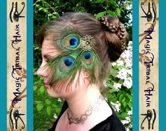 PEACOCK FEATHER FASCINATOR Tribal Fusion Belly Dance hair jewelry Larp elf fairy costume accessory barrette Fantasy Steampunk goth headpiece