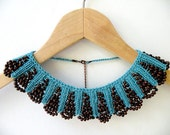 Hand Knit Teal Blue Necklace Collar with Brown Wood Beaded