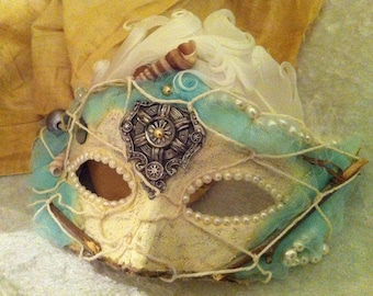 Lady Shipwrecked - Custom Vintage Venetian Mask