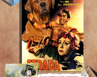 Tosa Inu Vintage Movie Style Poster Canvas Print  - La Strada Movie Poster NEW Collection by Nobility Dogs