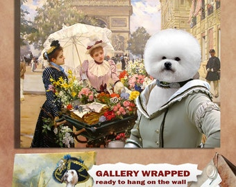 Bichon Frise Art - CANVAS  Print - Fine Artwork - Dog Portrait -  Dog Painting - Dog Art - Dog Print – Custom Dog Art By Nobility Dogs