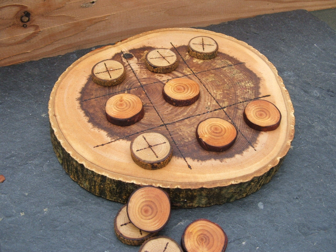 Natural Rustic Wooden Tic Tac Toe Or By Naturalorganiccrafts