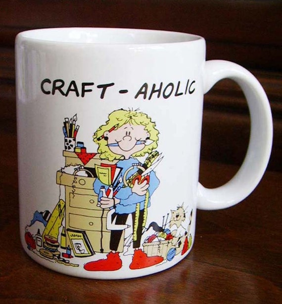 Vintage craft aholic coffee mug cup gift for crafter ceramic for Coffee mug craft kit