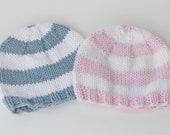 Twin Boy Girl Hats, size 0-3 months-newborn, stripes