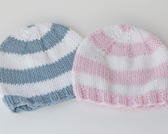 Twin Boy Girl Hats, size 0-3 months-newborn, stripes