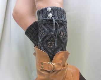 WONDERLAND Charcoal Grey knit legwarmers, womens leg warmers, boot socks, leggings, hosiery, boho, country wedding, rustic | LW16