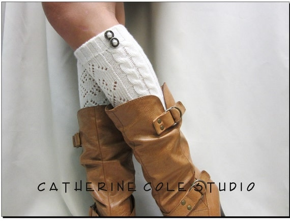 Open crochet knit leg warmers ivory / womens cable knit pattern  great with cowboy boots by Catherine Cole Studio legwarmers open work