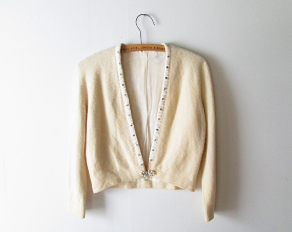 1950s Cardigan Sweater // Cropped Cashmere Sweater with Metallic Pearl Clasp.