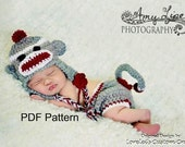 PDF Crochet Sock Monkey Hat and Diaper Cover Set Pattern file available for instant download. Finished size fits newborn to 3 months.