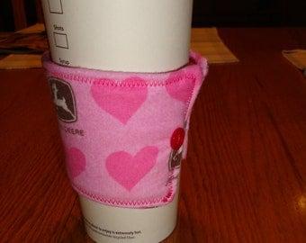 Pink Heart John Deere Flannel Coffee Cup Cozy