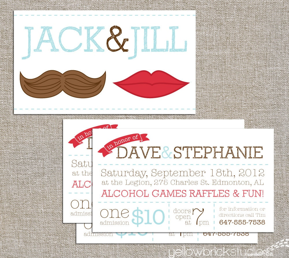 Jack jill tickets mr and mrs 250 double by yellowbrickstudio for Jack and jill ticket templates