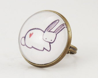 Kawaii Bunny Rabbit Ring, Cute Adjustable Art Ring .