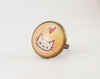 Kawaii Kitty Cat Ring, Cute Adjustable Art Ring