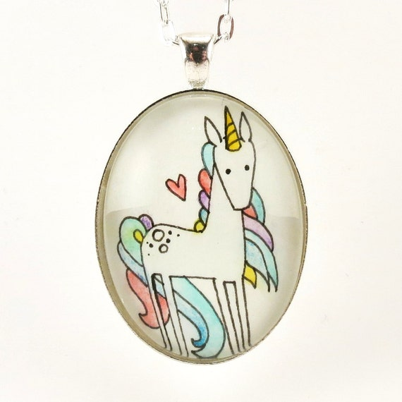 Unicorn Necklace - Picture Pendant - Hand Painted Whimsical Art