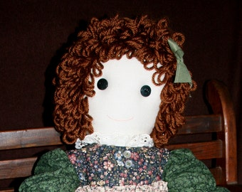 MARCIE Country Girl Button Eyed Doll in Dress & Apron