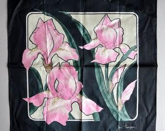 SALE! Jim Thompson Silk Scarf - Pink Bearded Iris - NOS